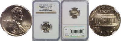 1992. NGC. MS-65. Cent. Wrong Planchet.