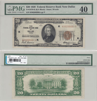 1929. $20. F-1870-K. PMG. XF-40. Federal Reserve B
