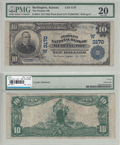 1902. $10. PMG. VF-20. KS. Burlington. Charter 317