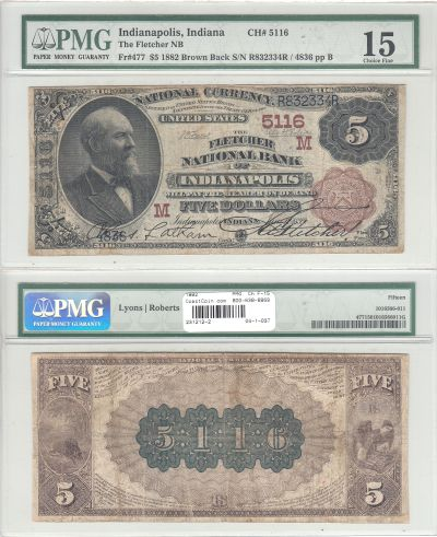 1882. $5. PMG. Ch F-15. IN. Indianapolis. Charter