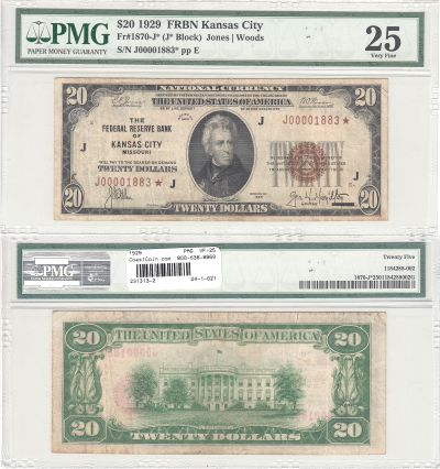 1929. $20. f-1870-J*. PMG. VF-25. Federal Reserve