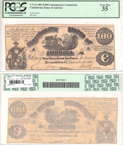 1861. $100. PCGS. VF-35. CT-13/55.