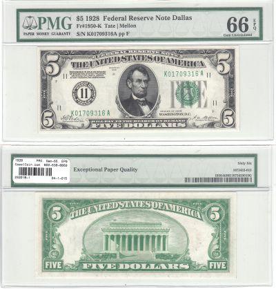 1928. $5. F-1850-K. PMG. Gem-66. EPQ. Federal Rese