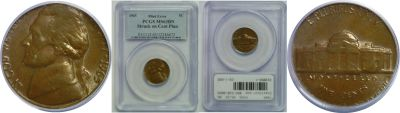1965. PCGS. MS-63. BN. Nickel. Wrong Planchet.