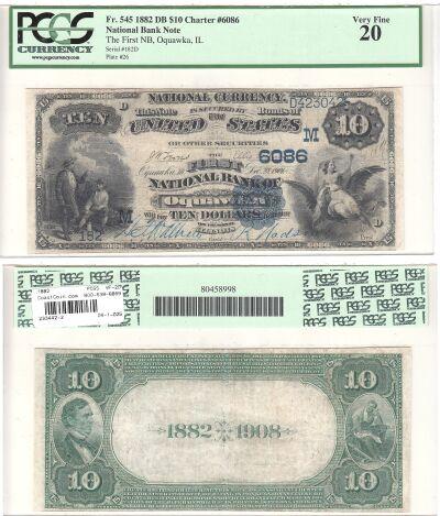 1882. $10. PCGS. VF-20. IL. Oquawka. Charter  6086