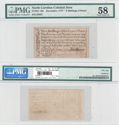 December 1771. NC. Two Shillings & 6 Pence. PMG. C