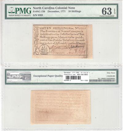 December 1771. NC. Ten Shillings. PMG. Ch Unc-63.