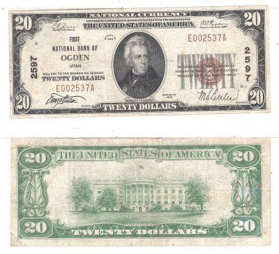 1929. $20. FINE. UT. Ogden. 2597.
