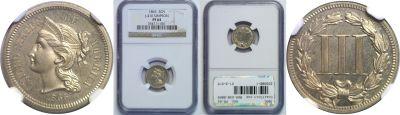 1865. Three Cent. NGC. PR-64. J-410.