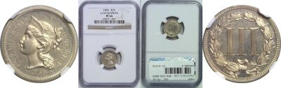 1865. Three Cent. NGC. PR-64. J-410.