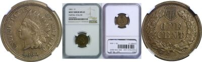 1863. NGC. MS-62. Cent. Partial Collar.