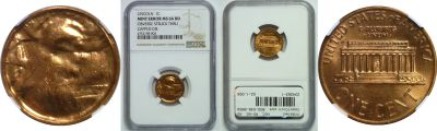 Undated. NGC. MS-66. RD. Cent. Obverse Struck Thru