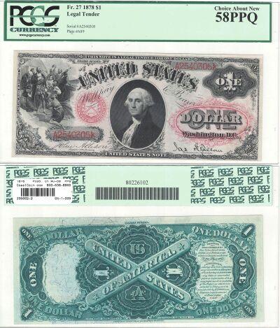 1878. $1. F-27. PCGS. Ch AU-58. PPQ. LTN.