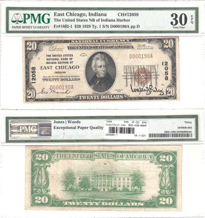 1929. $20. PMG. VF-30. EPQ. IN. East Chicago. Char