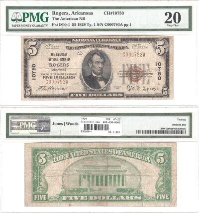 1929. $5. PMG. VF-20. AR. Rogers. Charter 10750.