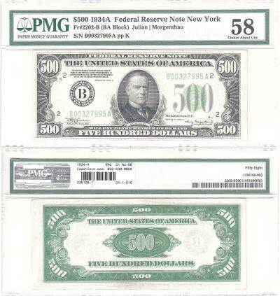 1934-A. $500. F-2202-B. PMG. Ch AU-58. Federal Res