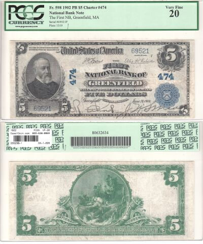 1902. $5. PCGS. VF-20. MA. Greenfield. Charter 474