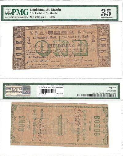 1860's. $1. PMG. Ch VF-35. LA.