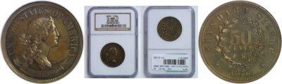 1870. Half Dollar. NGC. PR-65. BN. J-989.