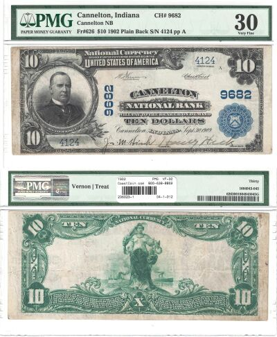 1902. $10. PMG. VF-30. IN. Cannelton. Charter 9682
