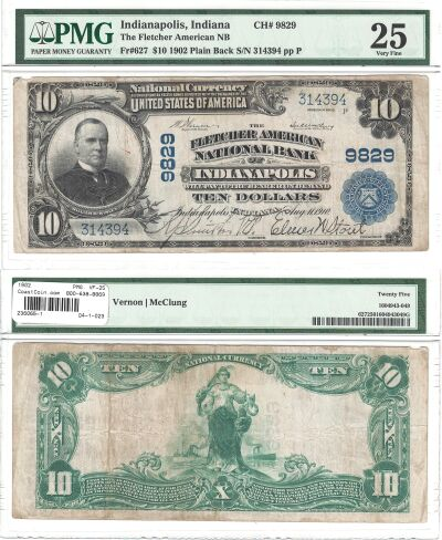 1902. $10. PMG. VF-25. IN. Indianapolis. Charter 9