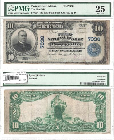1902. $10. PMG. VF-25. IN. Poseyville. Charter 703