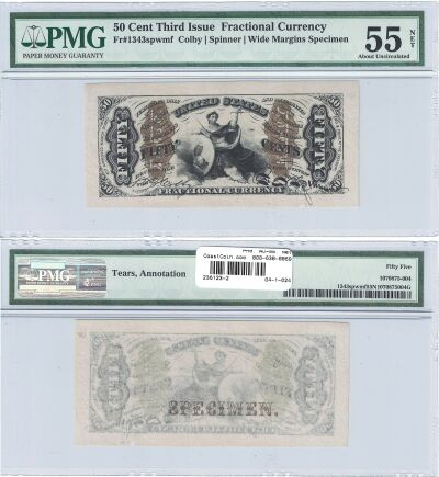 50c. 3rd Issue. PMG. AU-55. Net. F-1343SP.