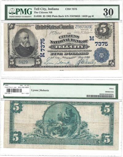 1902. $5. PMG. VF-30. IN. Tell City. Charter 7375.