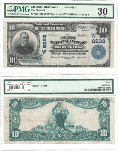 1902. $10. PMG. VF-30. OK. Mounds. Charter 6263.
