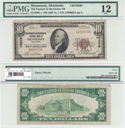1929. $10. PMG. F-12. OK. Hennessey. Charter 10209
