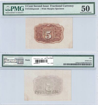 5c. 2nd Issue. PMG. AU-50. F-1232SP.