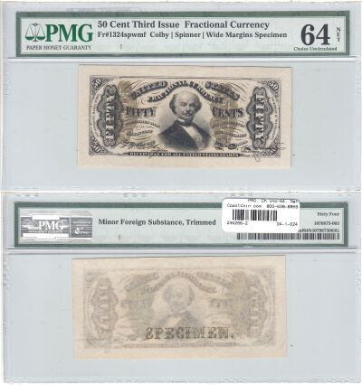 50c. 3rd Issue. PMG. Ch Unc-64. Net. F-1324SP.