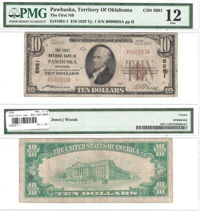 1929. $10. PMG. F-12. OK. Pawhuska. Charter 5961.