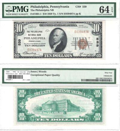 1929. $10. PMG. Ch Unc-64. EPQ. PA. PHILADELPHIA.