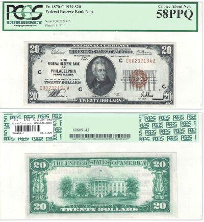 1929. $20. F-1870-C. PCGS. Ch AU-58. PPQ. Federal