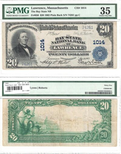 1902. $20. PMG. Ch VF-35. MA. Lawrence. Charter 10