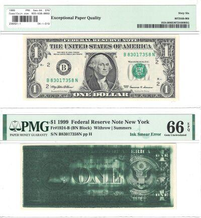 1999. $1. PMG. Gem-66. EPQ. Federal Reserve Note.