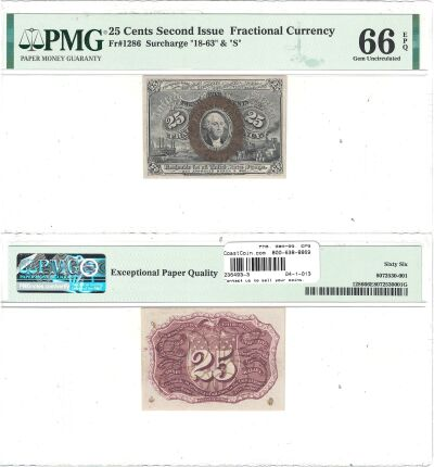 25c. 2nd Issue. PMG. Gem-66. EPQ. F-1286.
