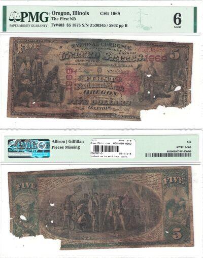 1875. $5. PMG. G-6. IL. Oregon. Charter 1969.