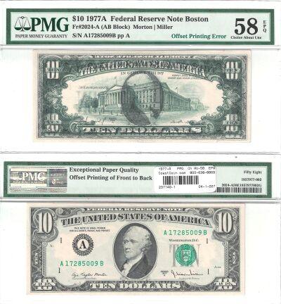 1977-A. $10. PMG. Ch AU-58. EPQ. Federal Reserve N