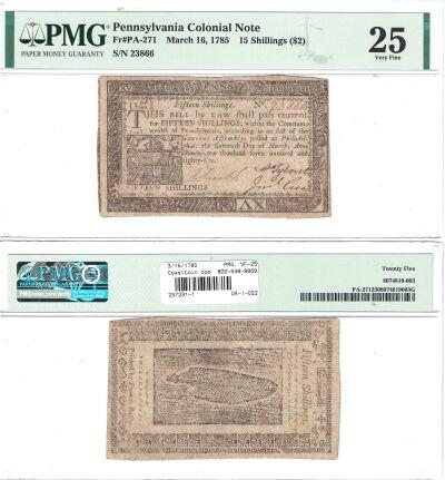 3/16/1785. PA. Fifteen Shillings. PMG. VF-25.