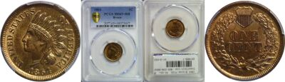1864 Bronze. PCGS. MS-65+. RB.
