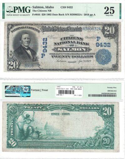 1902. $20. PMG. VF-25. ID. Salmon. Charter 9432.