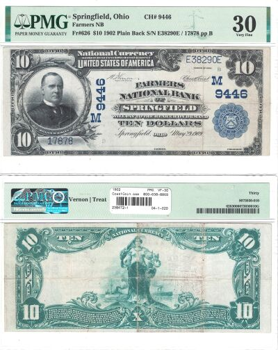 1902. $10. PMG. VF-30. OH. Springfield. Charter 94