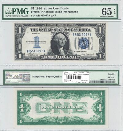 1934. $1. F-1606. PMG. Gem-65. EPQ. Silver Certifi