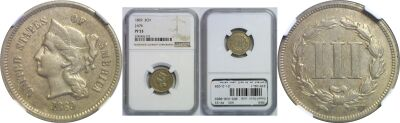 1869. Three Cent. NGC. PR-53. J-676.