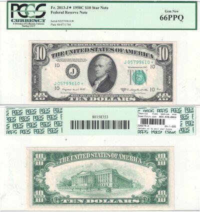 1950-C*. $10. F-2013-J*. PCGS. Gem-66. PPQ. Federa