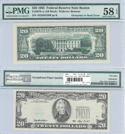 1993. $20. PMG. Ch AU-58. EPQ. Federal Reserve Not