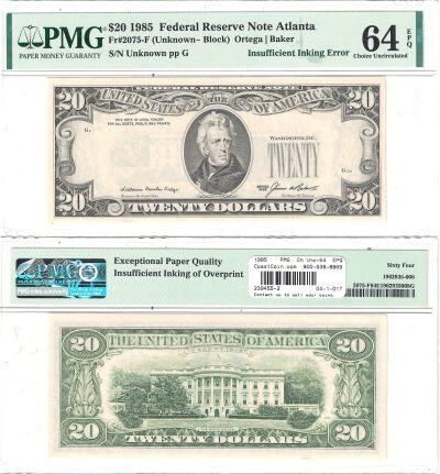 1985. $20. PMG. Ch Unc-64. EPQ. Federal Reserve No