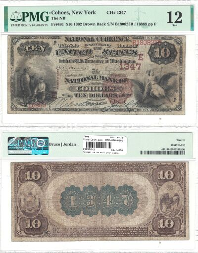 1882. $10. PMG. F-12. NY. Cohoes. Charter 1347.